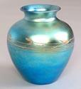 STEUBEN. A Blue Aurene Glass Vase, circa 1928. Inscribed on base