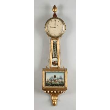 L. Curtis, Concord, MA, Gilt Wood Banjo Clock