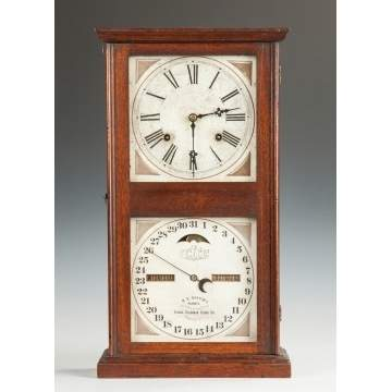 Ithaca Double Dial Calendar Clock - Farmer's Model #10