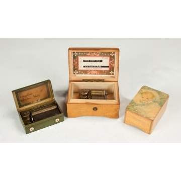 Three Miniature Music Boxes