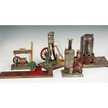 Group of Various German Painted Tin Steam Engines & Accessories