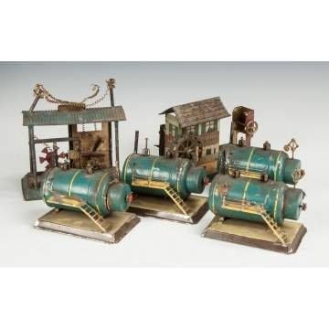Group of Various Tin Clockwork Engines & Accessories