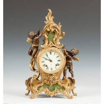 Ansonia Gilded Metal & Onyx Shelf Clock with Cherubs