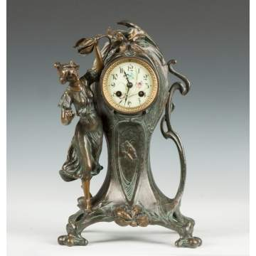 French Art Nouveau Shelf Clock