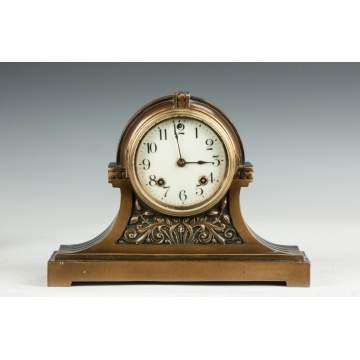 Ansonia Patinaed Brass Shelf Clock with Stylized Flowers