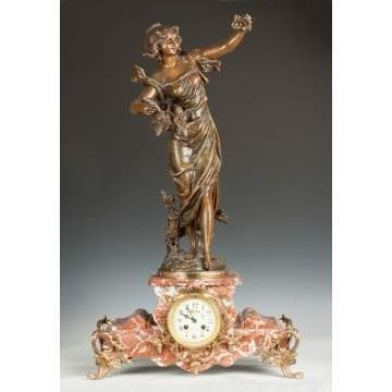 French Marble & Patinaed Metal Shelf Clock