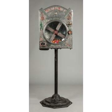 "International Mutoscope Reel Co., New York, ""The Old Mill"" Coin Operated Gumball Machine"
