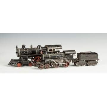 Cast Iron Floor Train Engine & Ives Clock Work Engine & Tender