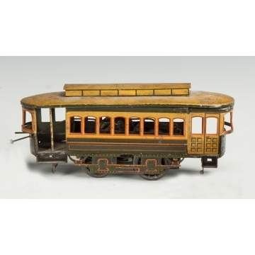 Bing Clockwork Tin Lithograph Trolley Car