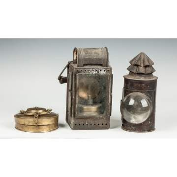 Collapsible Brass Candle Lantern & Two Early Tin Lanterns