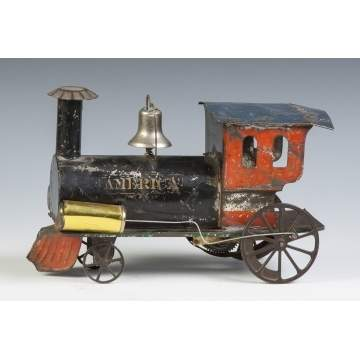 """America"" Early Painted Tin Clock Work Locomotive"