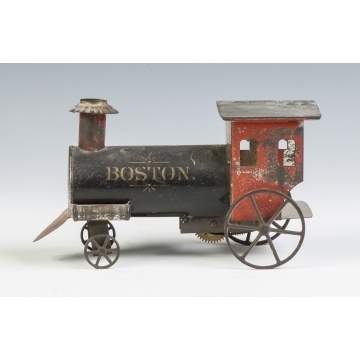 """Boston"" Painted Tin Clock Work Locomotive"