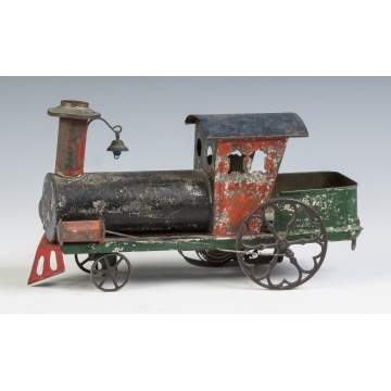 "Painted Tin Clock Work Locomotive with Attached Tender, ""Eagle"""