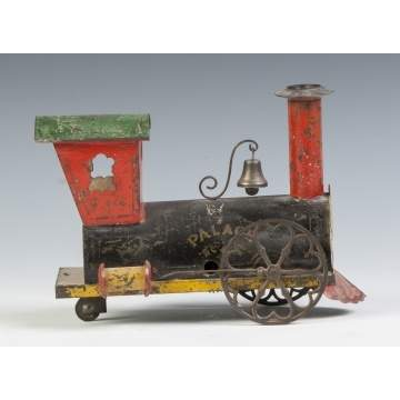 """Palace"" Painted Tin Clock Work Engine, Probably Ives"
