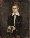 American Portrait of a young boy with slate board