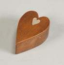 Carved Maple Heart Shaped Box with Mother of Pearl Inlay