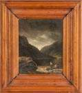 Painting of a Lake & Mountain scene with boaters