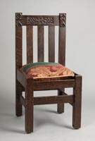 Arts & Crafts Carved Oak Side Chair