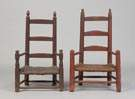 Two New England Slat Back Painted Child's Chairs