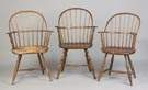Group of Three New England Sack Back Windsor Chairs