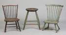 Two Windsor Chairs & One Stool