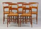 Set of Five Tiger Maple Chairs