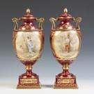 Pair of Hand Painted Vienna Urns