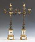Pair of  Bronze, Gilt Bronze & White Marble Three Arm Candelabras