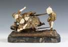 Dimitri Chiparus (Romanian, 1886-1947) Gilt Bronze & Ivory Sculpture of Children in a Wheelbarrow