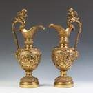 Pair of Gilt Bronze Ewers with Cherubs & Rams Heads