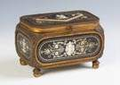 Fredico Lancetti Inlaid Ebony Brass Jewelry Casket