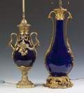 Two Cobalt French Lamp Bases