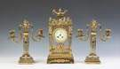 French Gilt Bronze & Crystal Three Piece Clock Set