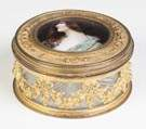 Gilt Bronze & Glass Round Jewelry Box