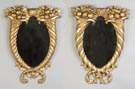 Pair of Carved & Gilt Wood Cornucopia Mirrors