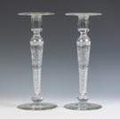 Pair of Hawkes Cut Glass & Engraved Candlesticks