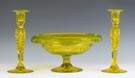 Cut Glass Vaseline Color Compote & Matching Candlesticks