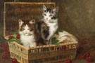 Jules LeRoy (French, 1856-1921) Kittens in a basket of cherries