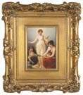 Hand Painted Porcelain Plaque of The Three Fates
