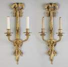 Pair of French Gilt Bronze Two Light Wall Sconces