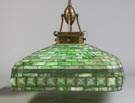 Arts & Crafts Style Leaded & Stained Glass Hanging Fixture with Turtlebacks