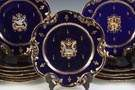 Set of 14 Herbiniere, France, Cobalt Blue Luncheon Plates with Gold Enameling