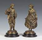 Gilded Bronze Sculptures of a Courting Couple