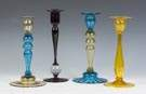Group of Candlesticks, Three Steuben & One Pairpoint