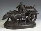 Feliks Khodorovich (Russian, 1840–1913) Russian Bronze Group of an Imeretian Bullock Cart