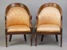Pair of Inlaid Rosewood Classical Style Armchairs