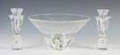 Steuben Crystal Center Bowl & Candle Holders