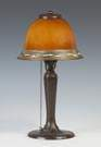 Handel Patinaed Metal Lamp Base with a Steuben Intarsia Decorated Shade