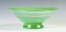 Steuben Iridised Green Jade Bowl with Applied Gold Aurene Threaded Decorations