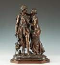 Jean Louis Grégoire (French, 1840-1890) Bronze Sculpture of Courting Couple with Dog